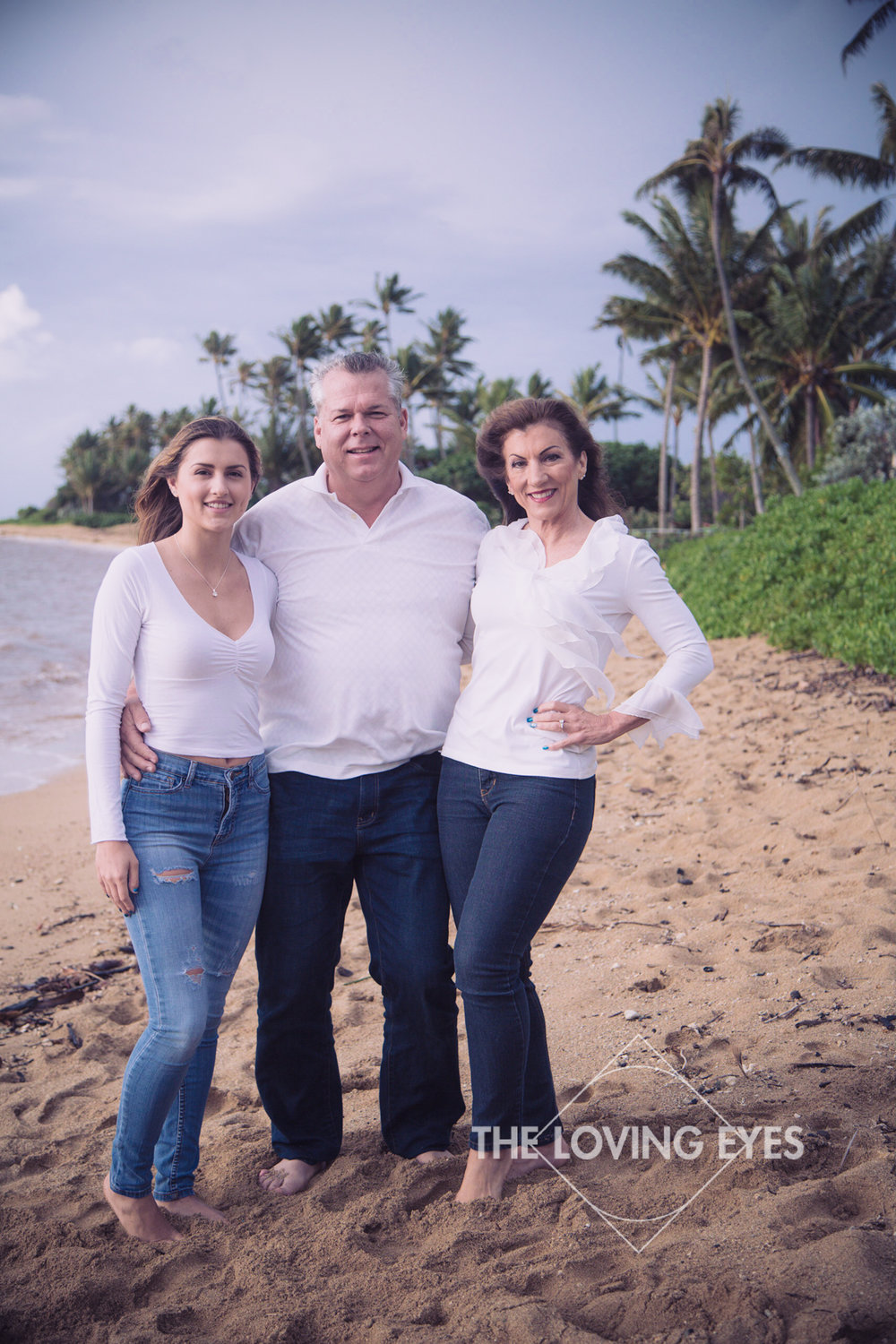 Family portrait on Kahala beach in Hawaii