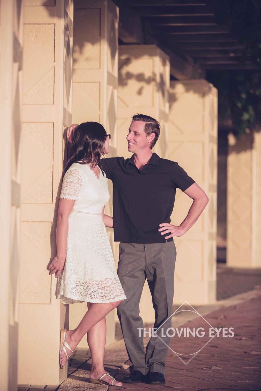 Engagement photo at Kakaako Waterfront Park in Hawaii