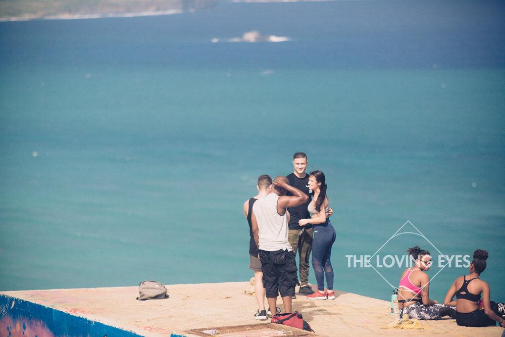 Taking a photo at Lanikai Pillbox in Hawaii