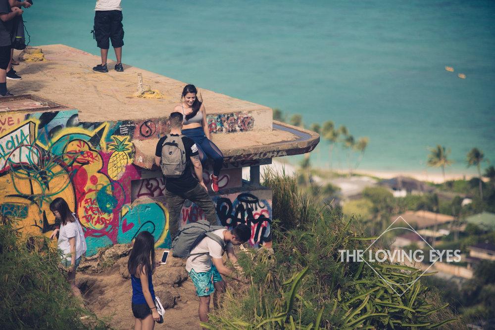 Climbing up the first pillbox at Lanikai Pillbox in Hawaii