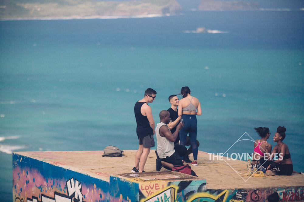 Marriage proposal at Lanikai Pillbox in Hawaii