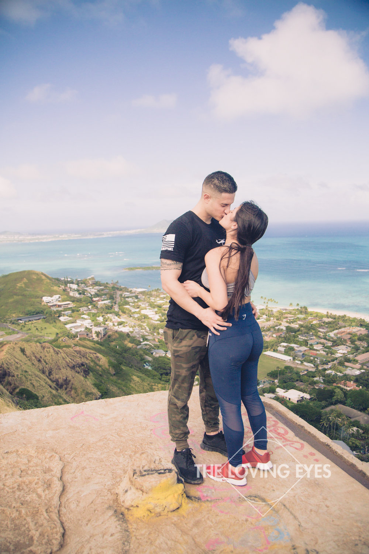 Romantic proposal atop Lanikai Pillbox in Hawaii