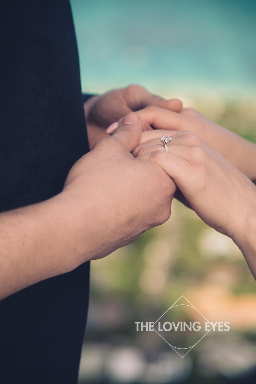 Engagement ring during proposal at the Lanikai Pillbox in Hawaii