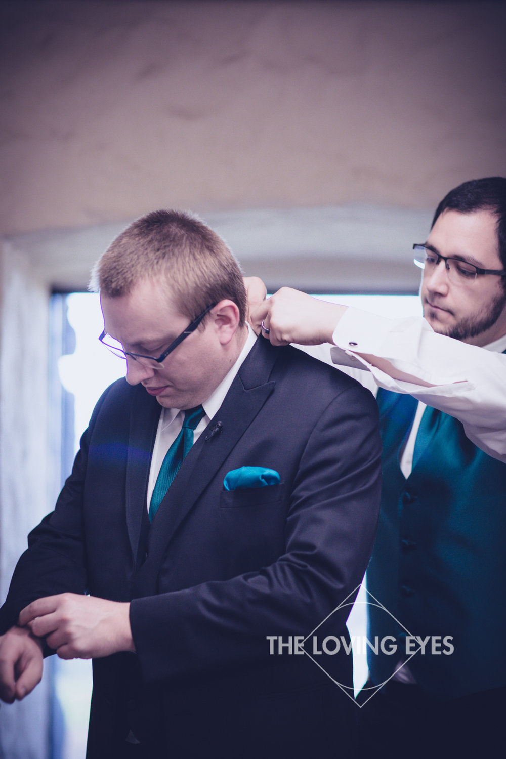 Groom and Best Man Getting Ready Before Wedding Ceremony