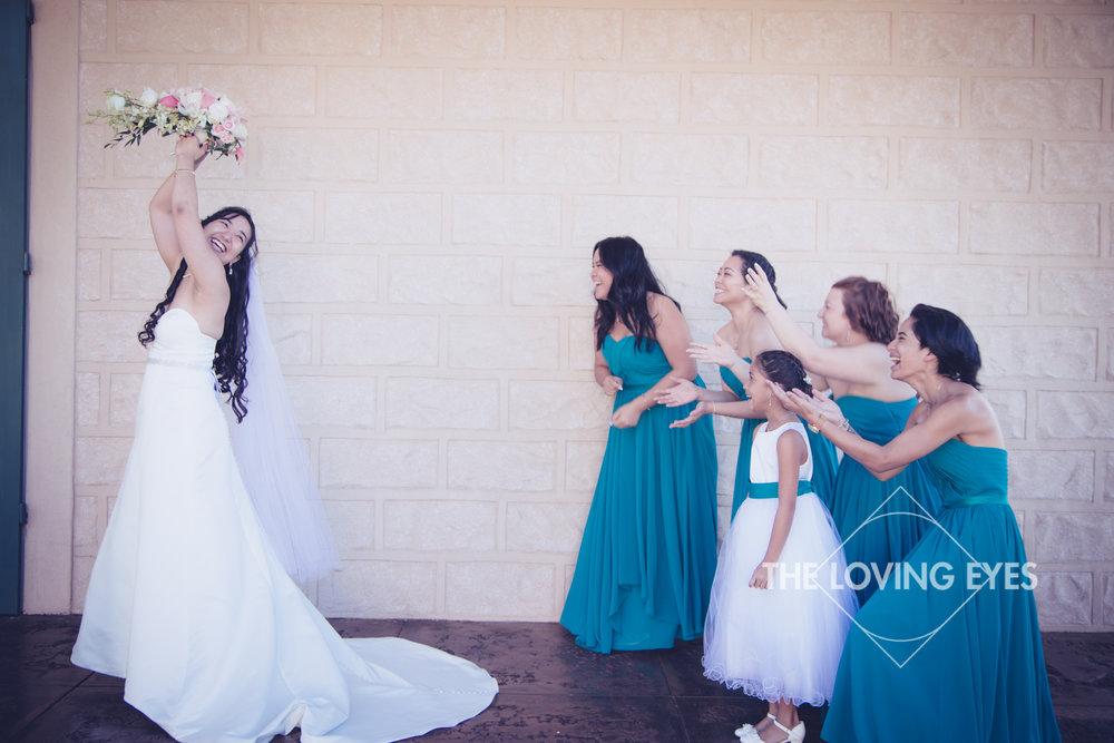 Fun Bridal party portrait at Bishop Memorial Chapel