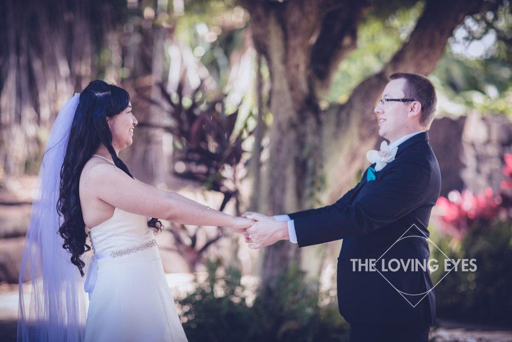 Bride and groom on wedding day at Bishop Memorial Chapel