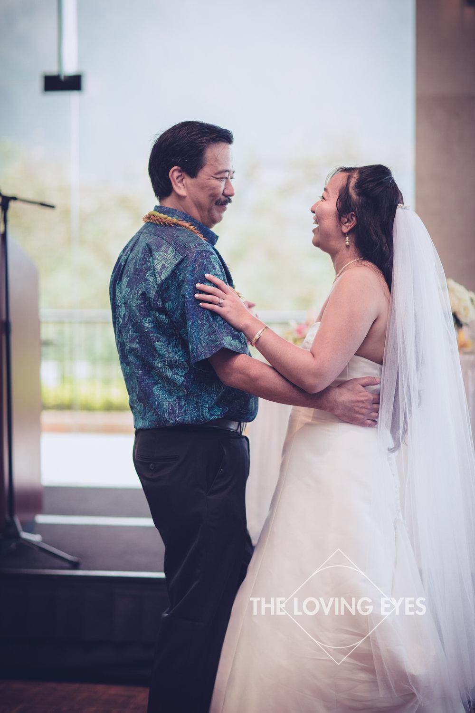 Father daughter dance during Wedding reception at Koolau Ballroom in Hawaii