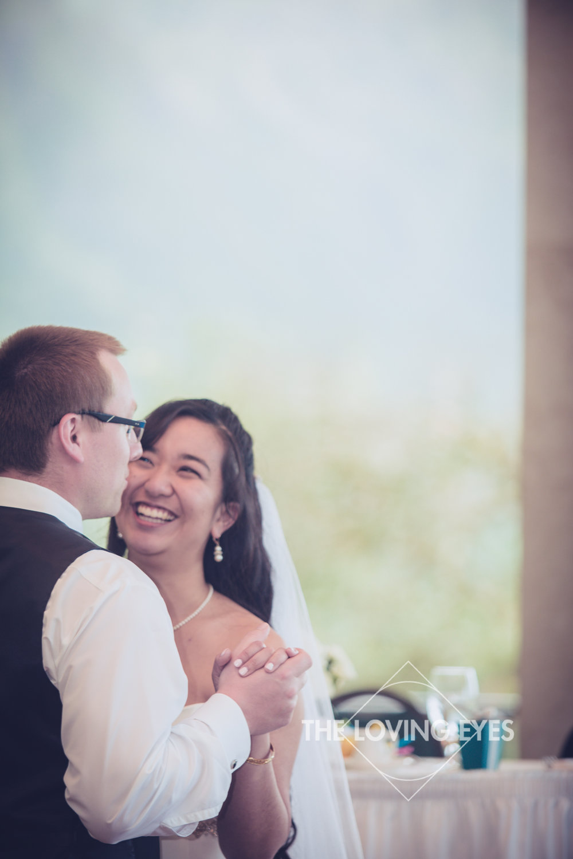 Bride and groom first dance during Wedding reception at Koolau Ballroom in Hawaii