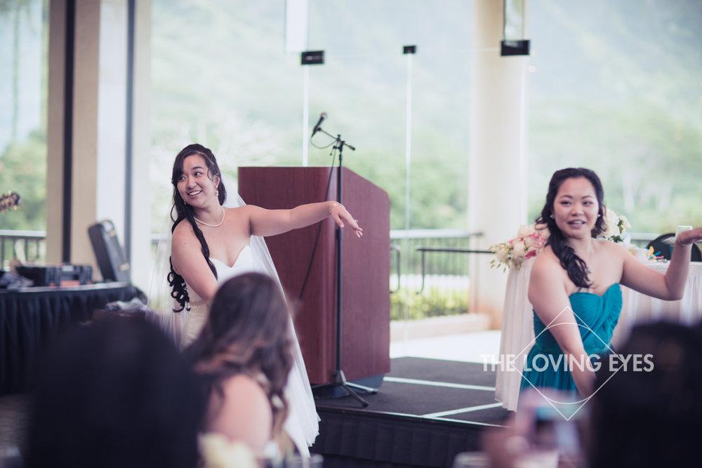Bride hula during Wedding reception at Koolau Ballroom in Hawaii