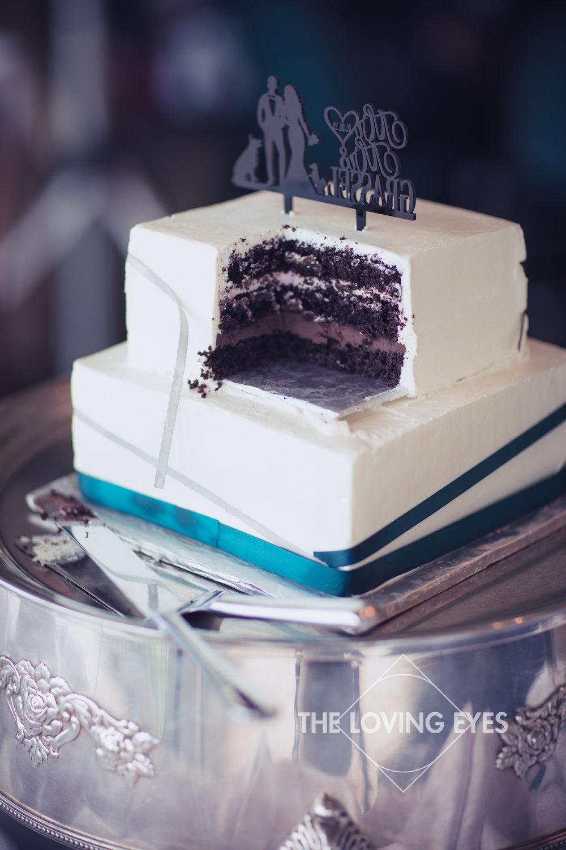 Wedding cake at Wedding reception at Koolau Ballroom in Hawaii