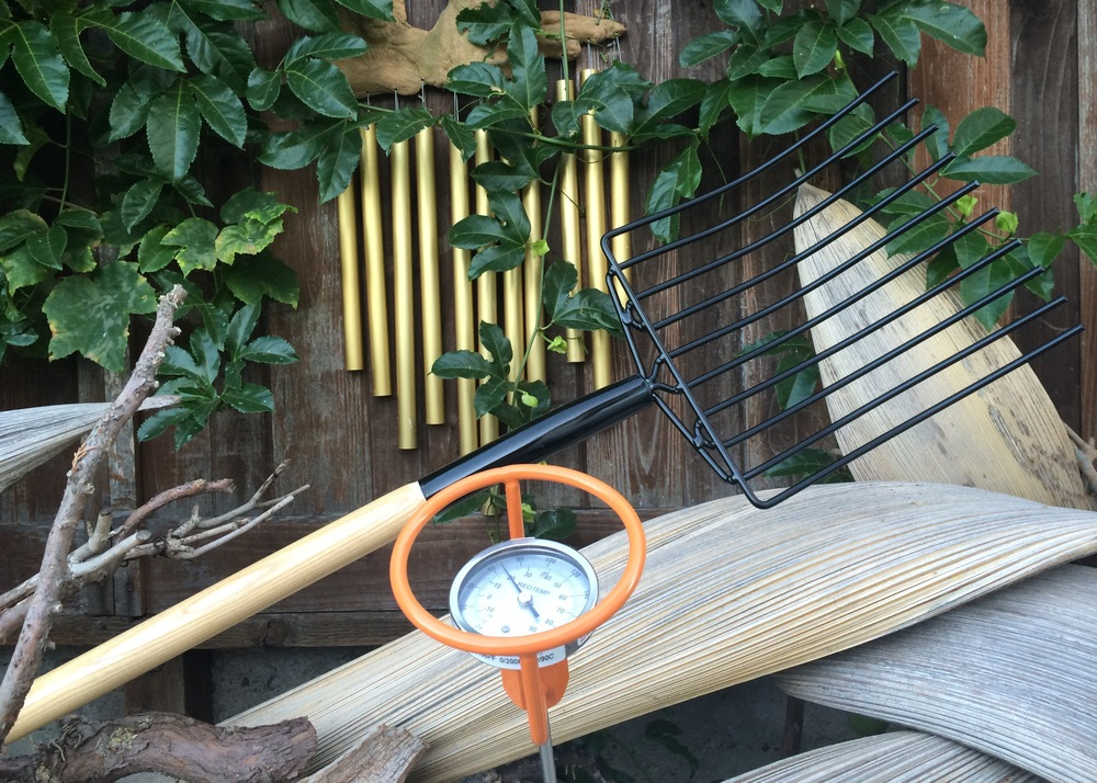 "1) Compost Fork (Lee Valley, Made in Canada)  2) Compost Thermometer 36"" (Reotemp, Made in USA)"