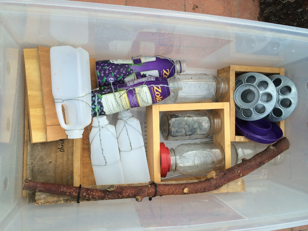 All of the brooder supplies easily pack in totes for quick and easy storage for next year.