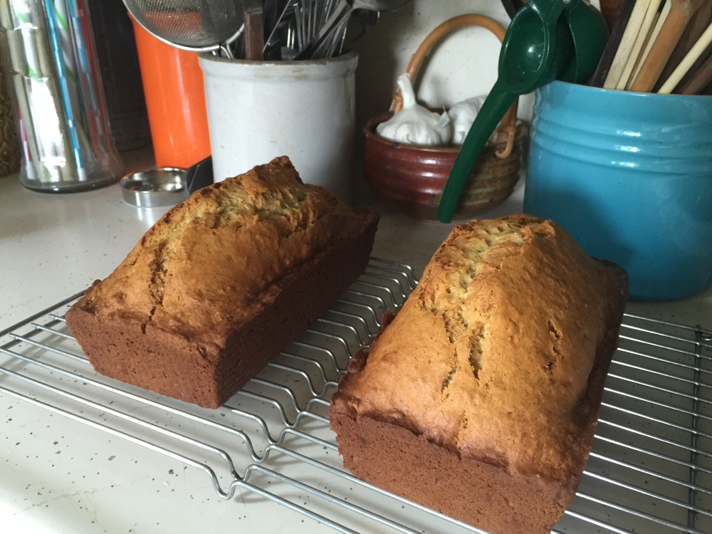 Banana bread. Recipe makes one loaf but it is easily doubled to make two loaves.