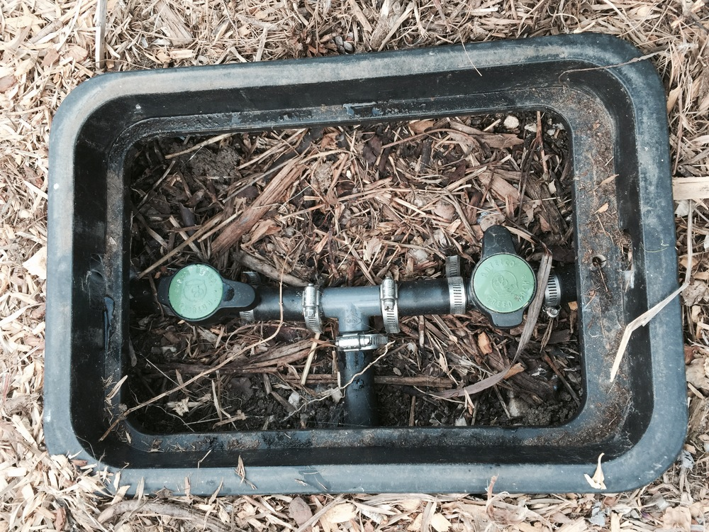region valves for the front garden's Laundry to landscape system. alternatively, a 3-way valve could be used but we elected to not spend another $50+ on a nice brass 3-way valve!