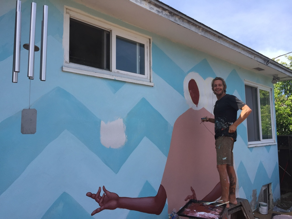 Aaron brought a unique talent to 107 Garden: Creativity! He created a mural covering the entire back of our house that faces the garden!