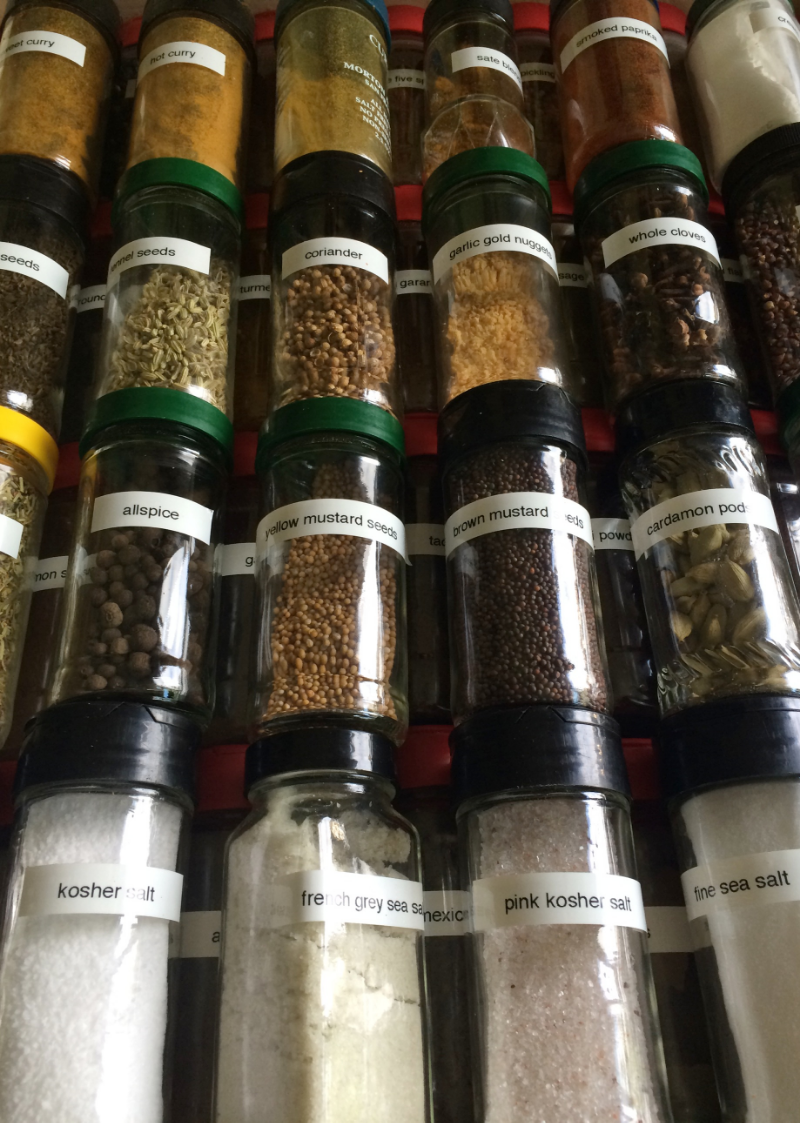 """This is my spice drawer before the KonMari method was a whirlwind event at our homestead. I did find that there were spices that I didn't use so I eliminated those--but more importantly I discovered I had four different places for my """"stock"""" of spices. So, the overflow was consolidated and all extra spices, herb, etc were given away."""