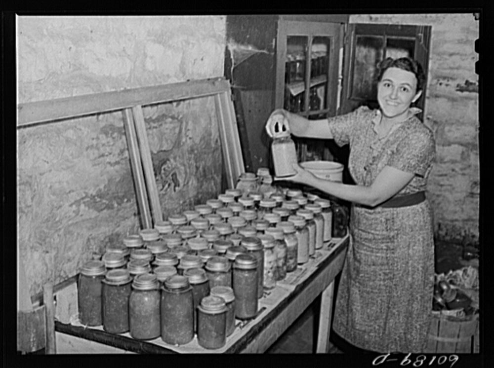 in 1937 the Farm security administration was charged with working on the complex problem of rural poverty and farming. Self-sufficiency and thus home canning was a part of the program. the photographs are the lasting legacy of the program as farmers continue to struggle. Library of Congress, Prints and Photography Division, FSA/OWI Collection, LC-USF34- 060189-D.