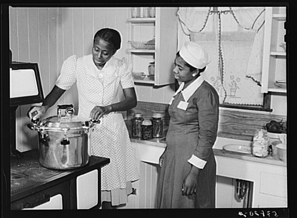 in 1937 the Farm Security Administration was charged with solving the complex problem of rural poverty and farming. Self-sufficiency thus home canning was a part of the program. the photographs are the lasting legacy of the program as farmers continue to struggle. Library of Congress, Prints and Photography Division, FSA/OWI Collection, LC-USF34- 051614-D.