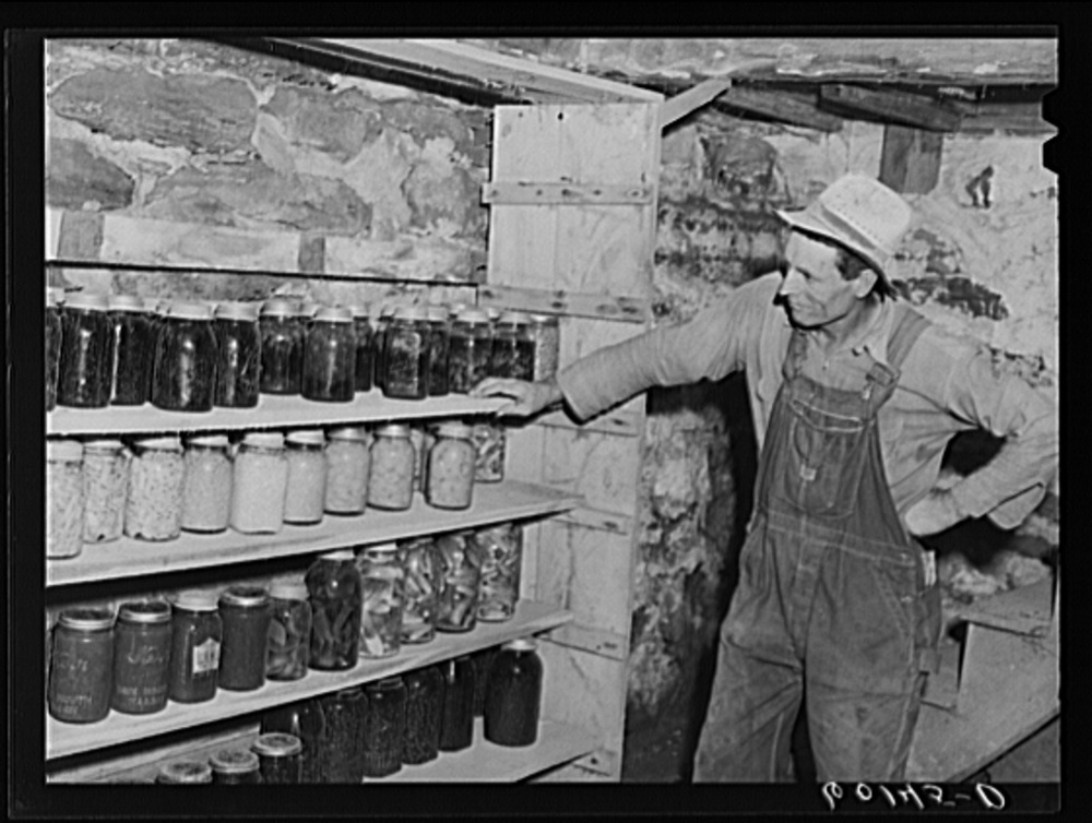 jackson county, Wisconsin, September 1939. in 1937 The farm security administration was charged with working on the complex problem of rural poverty and farming. Self-sufficiency and thus home canning was a part of the program. Library of Congress, prints and Photography division, FSA/OWI Collection, #LC-USF34- 060145-D.