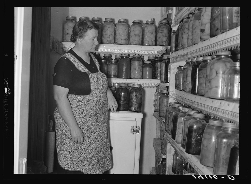 Box Elder County, Utah. 1940. In 1937 the Farm Security Administration (FSA) was charged with working on the complex problem of farming and rural poverty. Self-sufficiency thus home food preservation were a part of the program. Library of Congress, Prints and Photography Division, FSA/OWI Collection, #LC-USF34-014110-D.