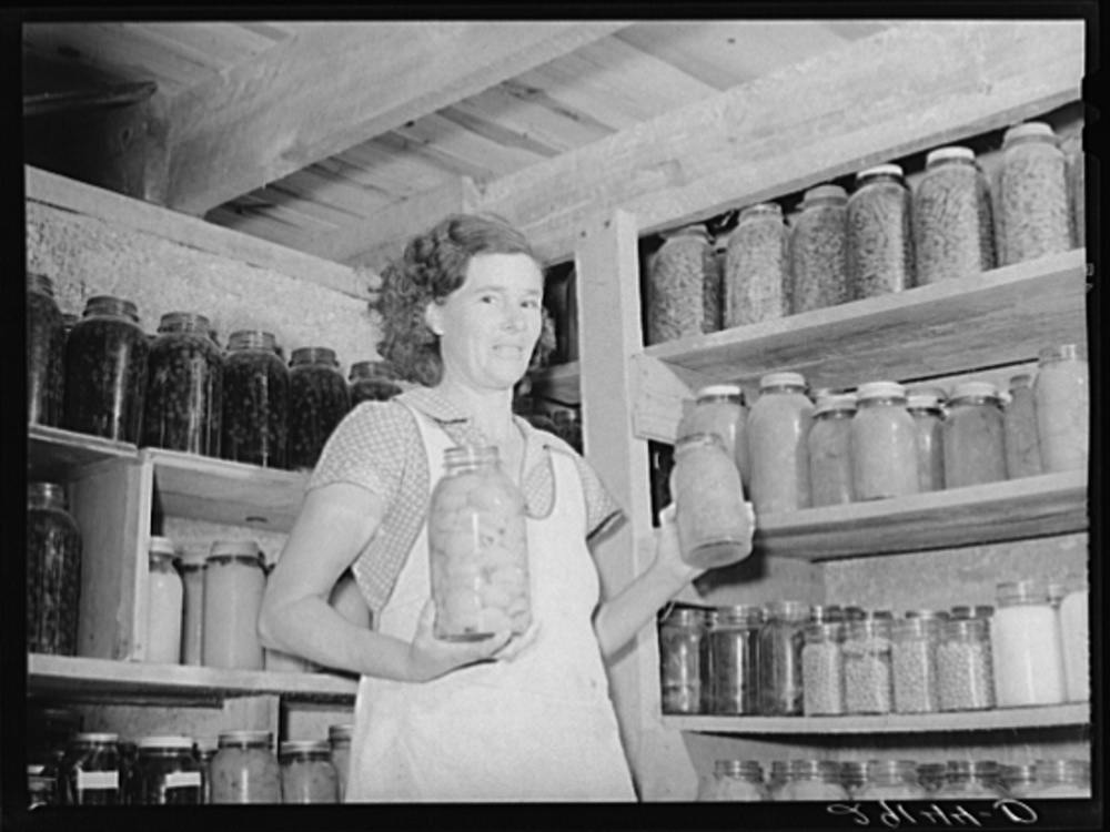 The Farm Security Administration (FSA) was charged with working on the complex problem of rural poverty and farming. Self-sufficiency thus home food preservation were a part of the program. Library of Congress, Prints and Photography Division, FSA/OWI Collection, LC-USF34- 029144-D.