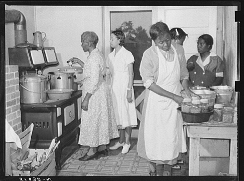 In 1937 the Farm Security Administration (FSA) was charged with working on the complex problem of farming and rural poverty. Self-sufficiency thus home food preservation were a part of the program. Library of Congress, Prints and Photography Division, FSA/OWI Collection, #LC-USF346- 051630-D.
