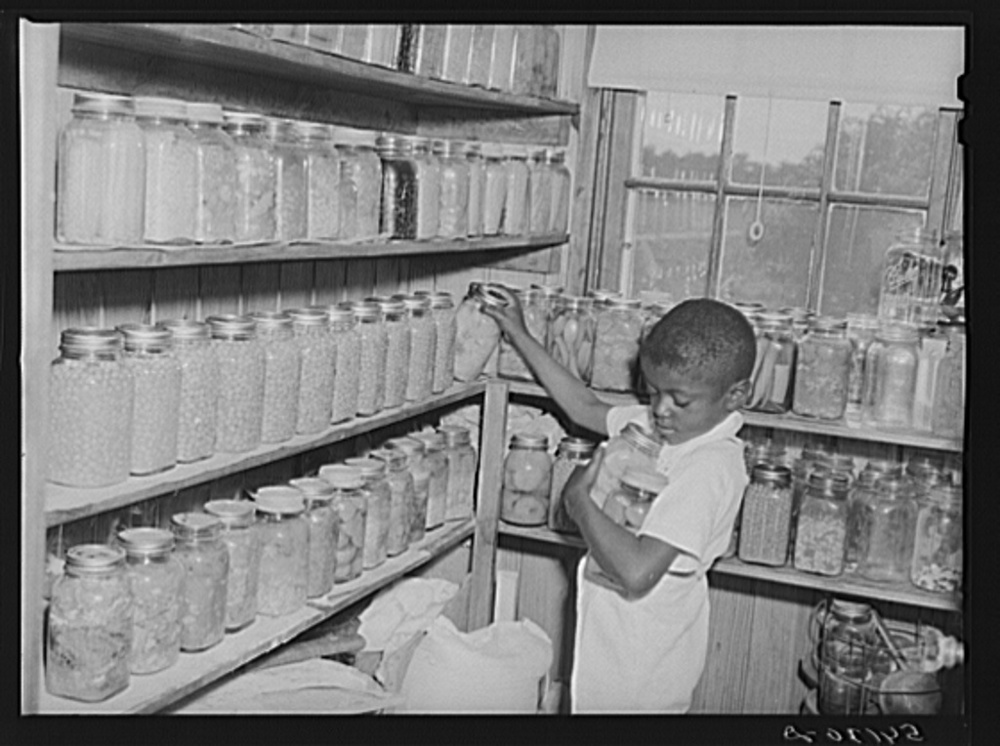 The Farm Security Administration (FSA) was charged with working on the complex problem of farming and rural poverty. Self-sufficiency thus home food preservation were a part of the program. Library of Congress, Prints and Photography Division, FSA/OWI Collection, #LC-USF34- 054130-D.