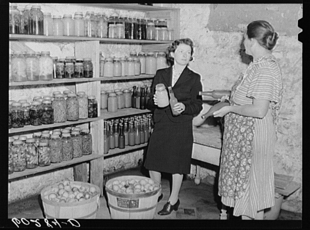 Wisconsin, 1939. In 1937, the Farm Security Administration (FSA) was charged with working on the complex problem of farming and rural poverty. Self-sufficiency thus home food preservation were a part of the program. Library of Congress, Prints and Photography Division, FSA/OWI Collection, #LC-USF34- 060284-D.