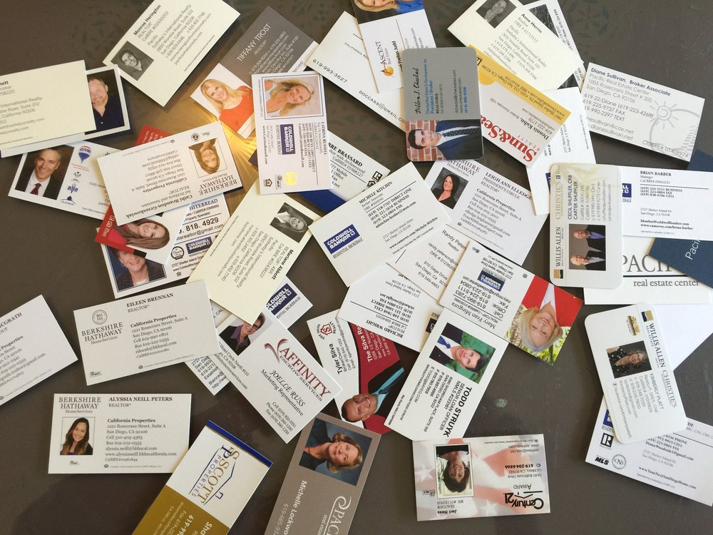 Some of the business cards from the open house. AKA strangers and neighbors checking out your digs, judging its value and potential, and wondering about what you did or didn't do before putting it on the market.  June 2016