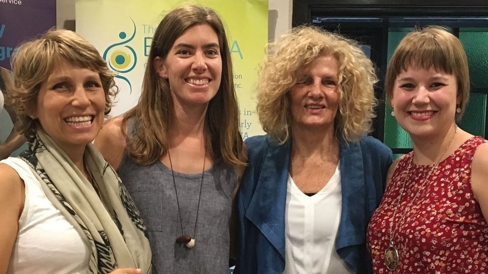 Rhea Dempsey and I after we spoke at the Homebirth Conference, with friends and Collective members Courtney and Femke.