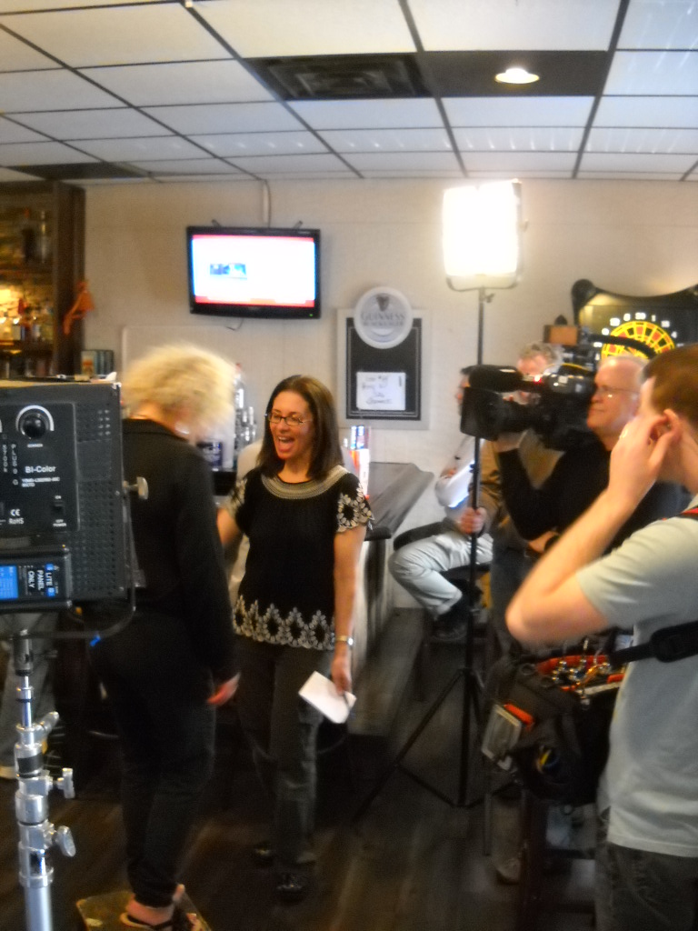 "Cindy Baker during the filming of the McShane's Restaurant episode of ""Restaurant Impossible'"