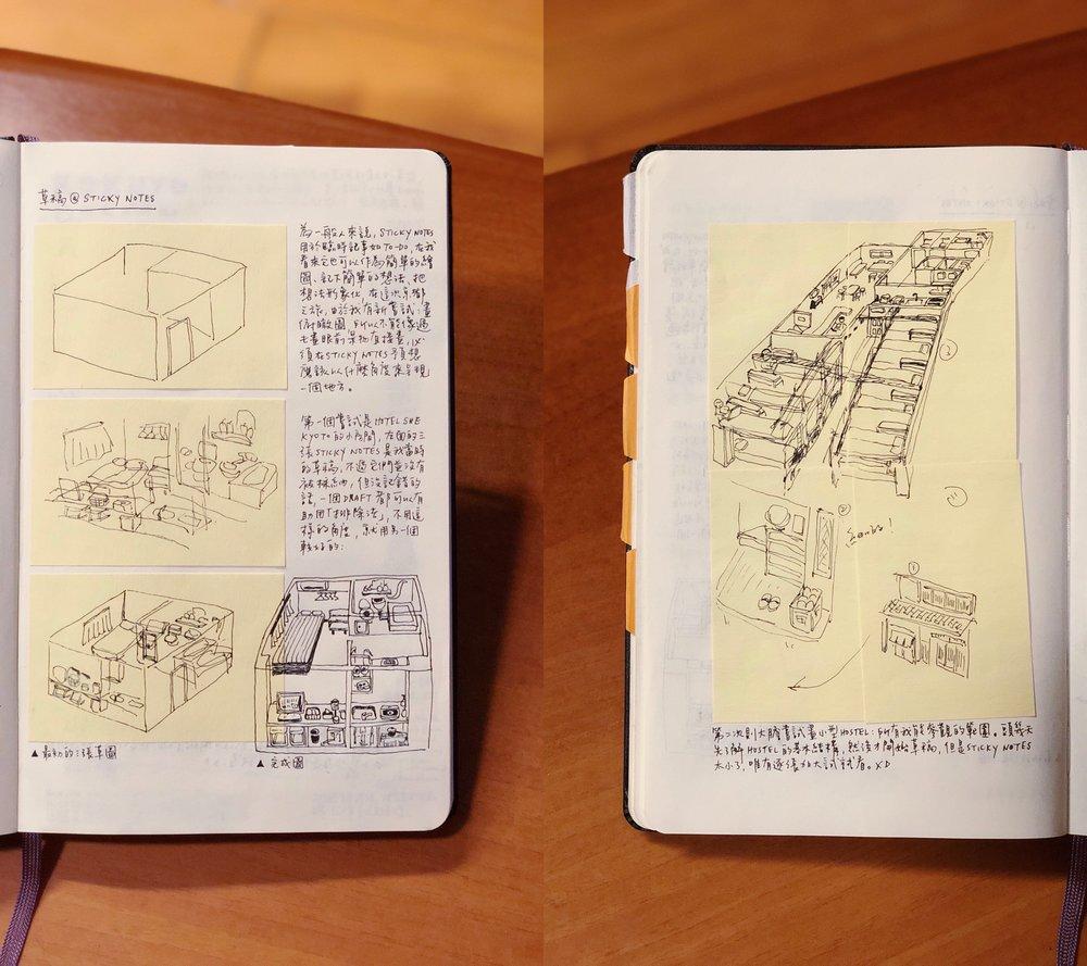 黃色便利貼是我的草稿,我把它們保留並記錄在另一本手帳中。