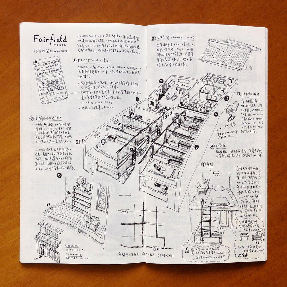 這家背包旅館由舊房子改建而成,麻雀雖小但五臟俱全,從建築到空間到床位設計我也有興趣。試著把房子拆成幾個部分去畫。