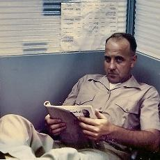 William Smith Sr., enjoying a read in uniform while stationed in Okinawa, Japan (age 38).