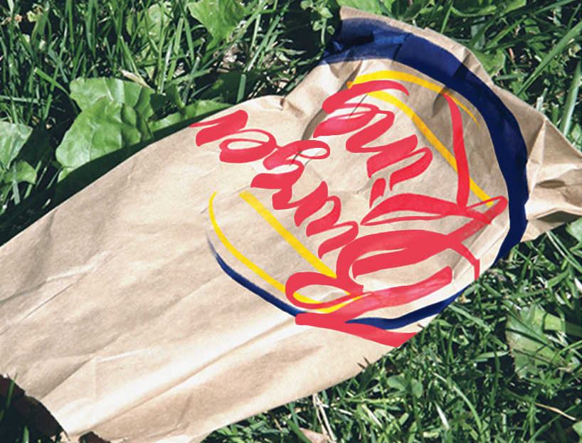Handmade burger king logo applied to the take-out bag