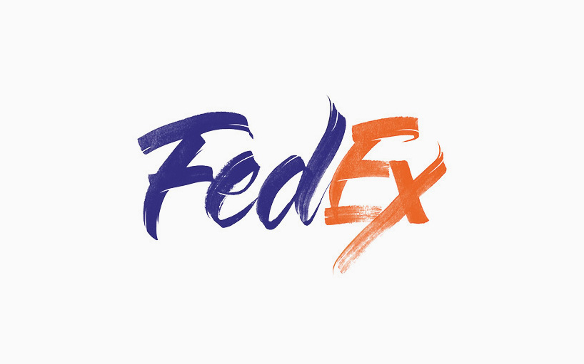 Fed-Ex spelled out in calligraphy brush script