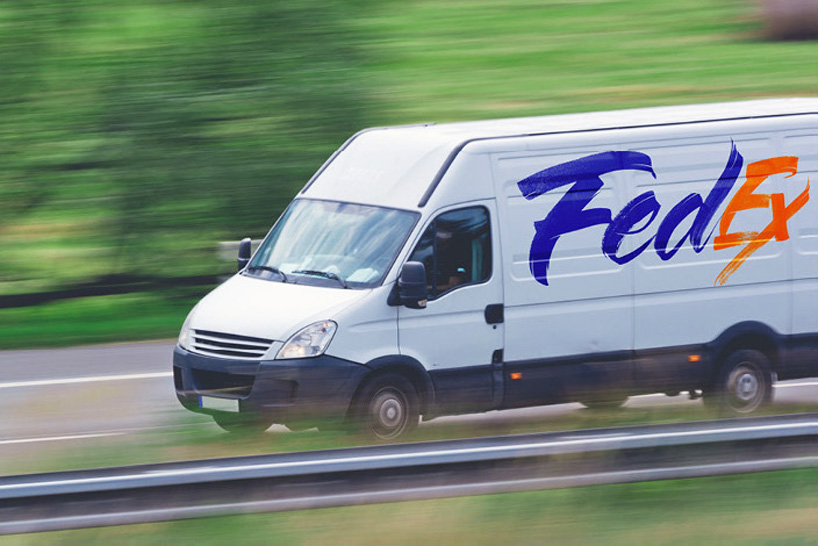 The Fed-Ex logo applied to the side of a delivery truck