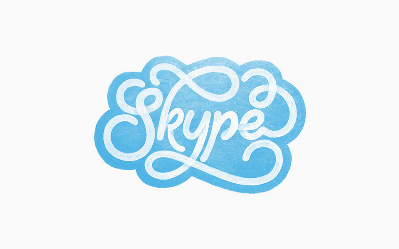 The Skype logo is treated with a script font