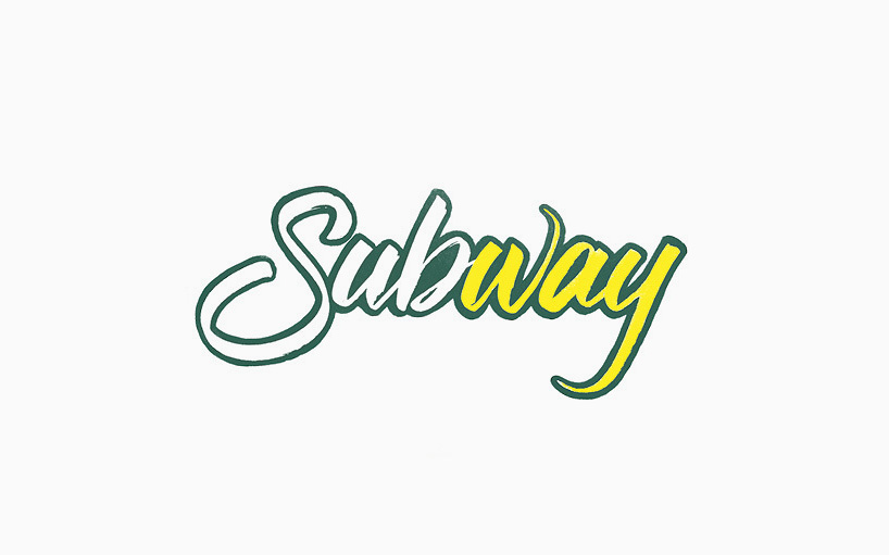 Subway spelled out in hand lettering
