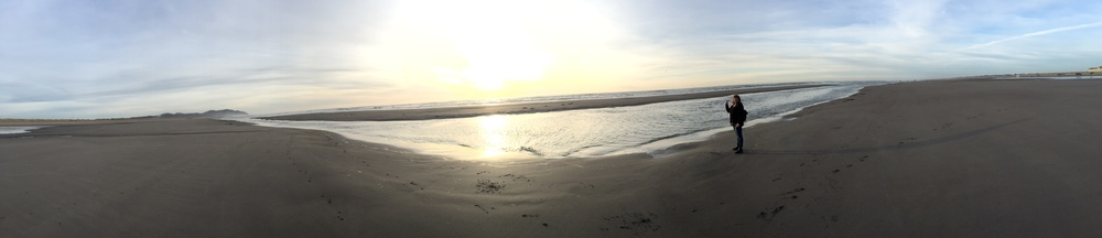 A valiant pano-effort and yours truly at sunset, Long Beach, WA.