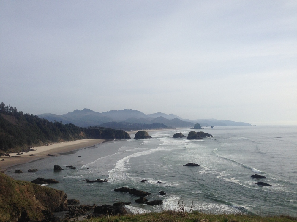 View from Ecola State Park, OR looking towards Indian Beach, Cannon Beach, and Arch Cape.