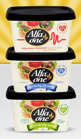 Alfa One Rice Bran Oil Spread (all varieties) Where: Most Supermarkets Status: Palm Oil Free