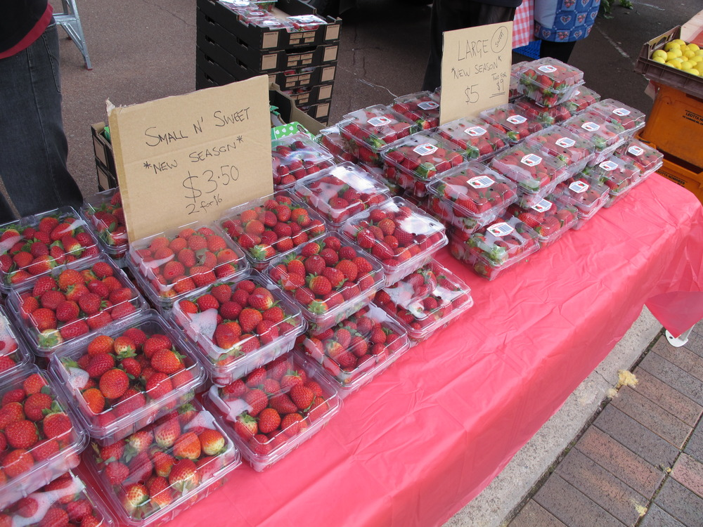 One of the three strawberry stalls at Midland Farmers Market