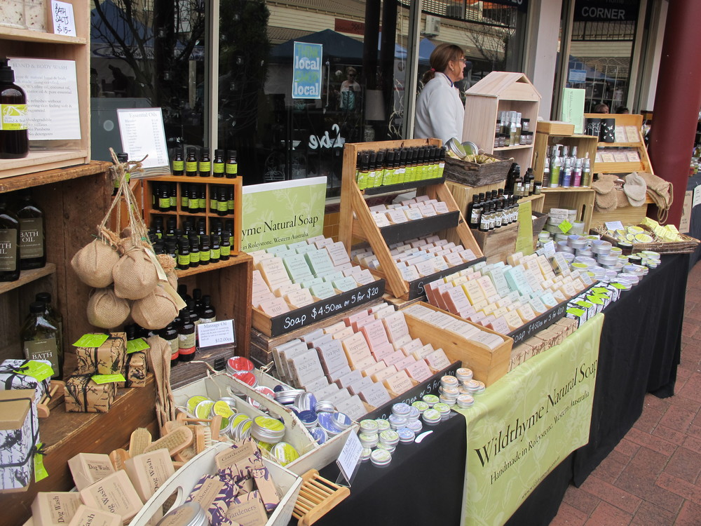 Judy and her Wildthyme Soap stall at Kalamunda Farmers Market