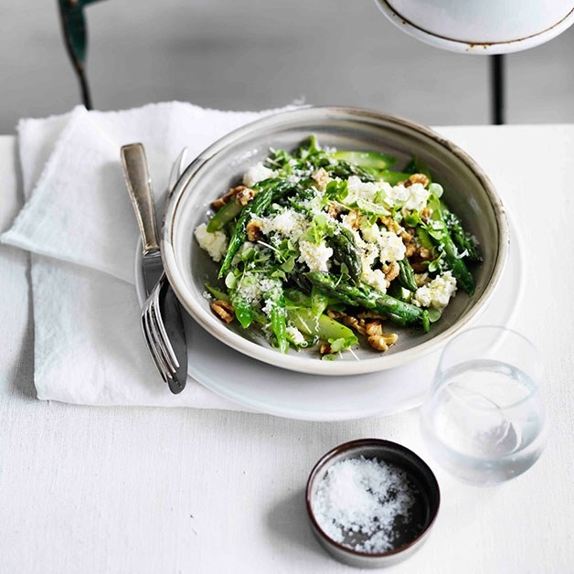 Warm asparagus salad with walnuts, Parmesan, lemon and olive oil