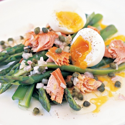 Ocean trout and asparagus with caper dressing