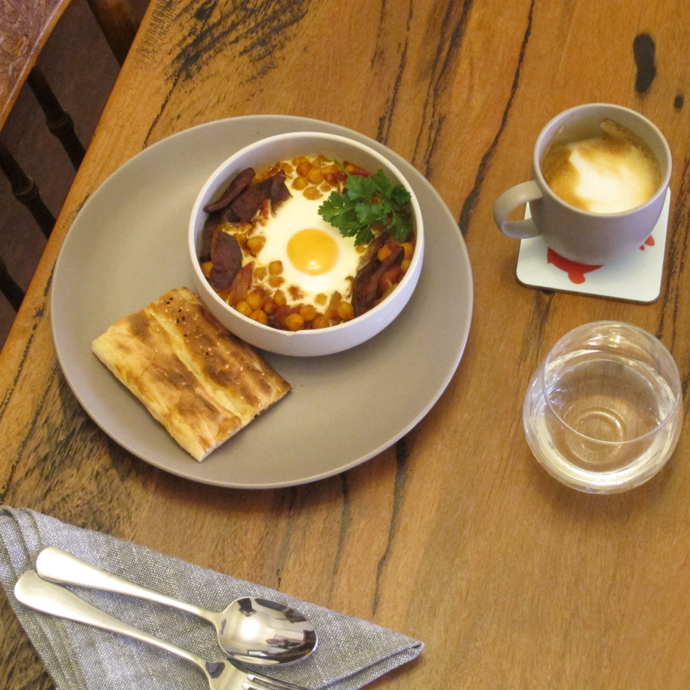 A recent Sunday breakfast at our place; chickpea, chorizo and tomato baked eggs.
