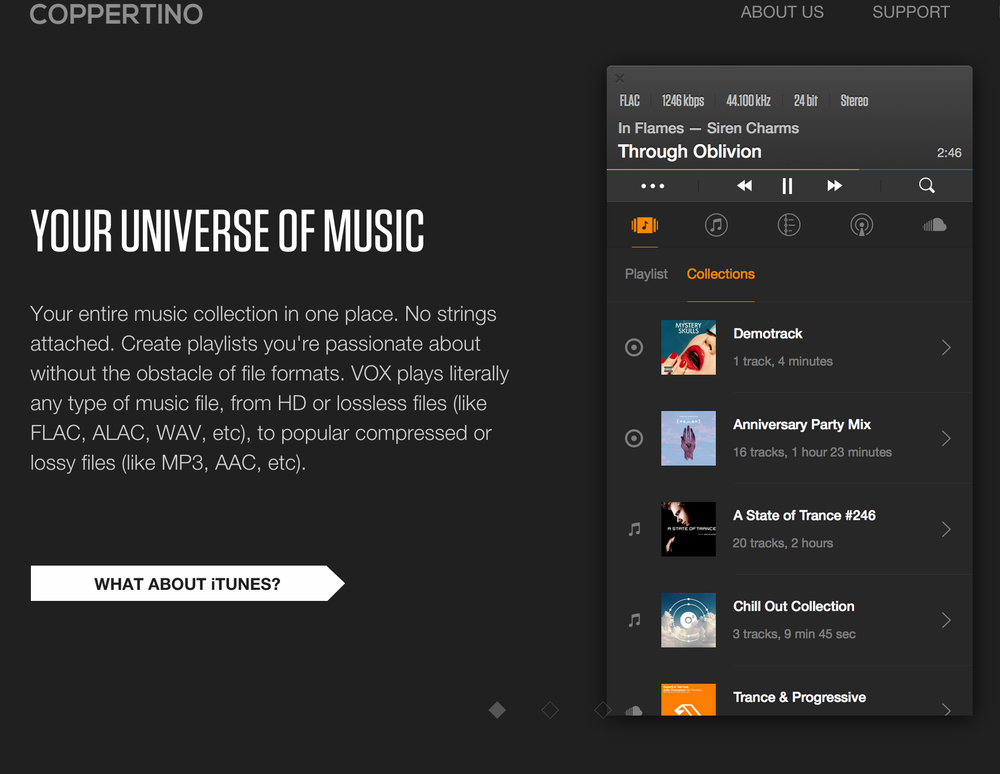 The Vox Music player from Coppertino, Inc.