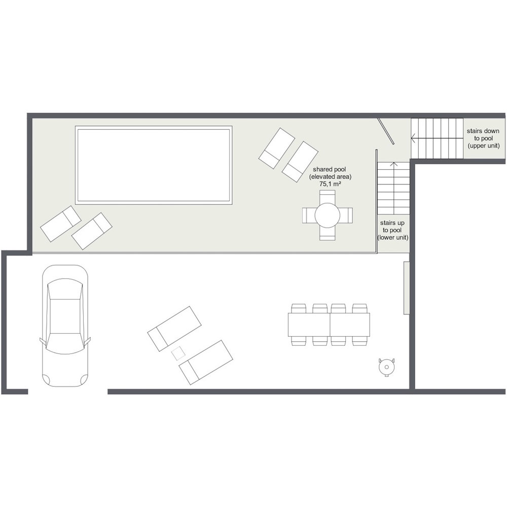 Shared pool area (grey), access to pool from each unit, and Le Cave private garden and terrace (white)