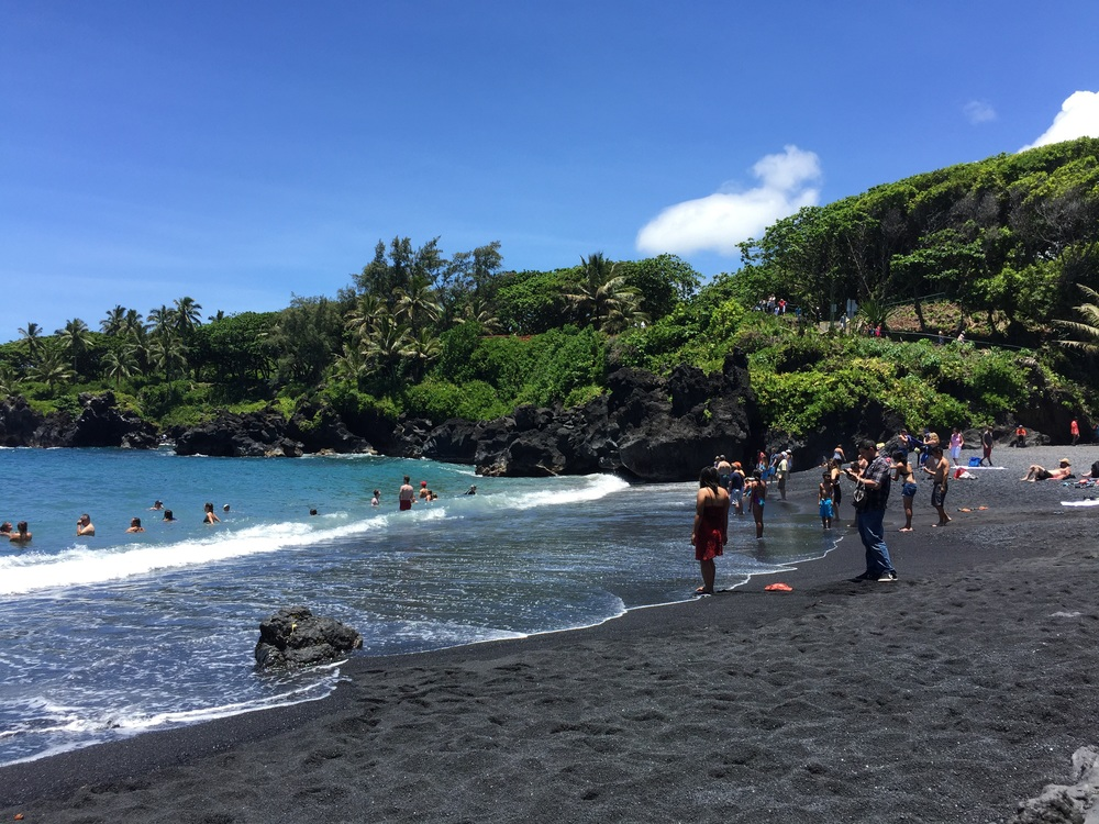 Wai'anapanapa State Park and the black sands